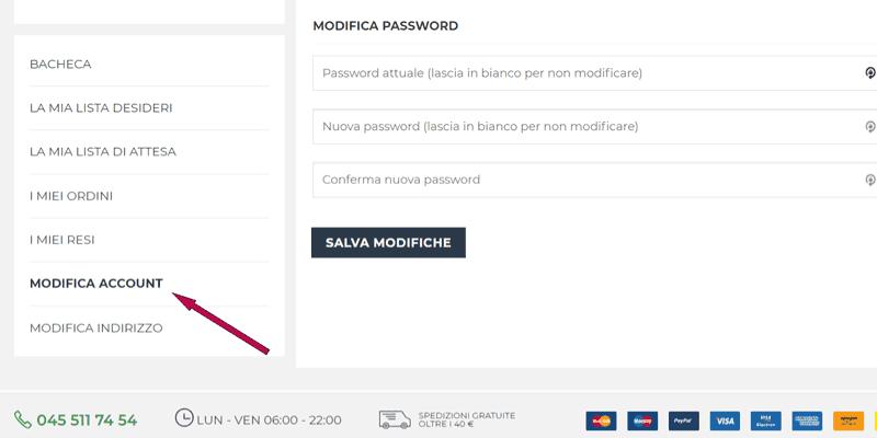 istruzioni per modificare password da pannello account